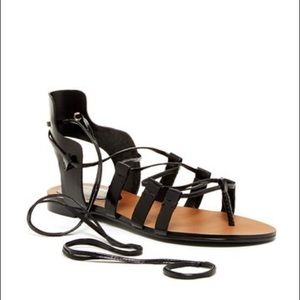 Enzo Angiolini Black Lace Up Gladiator Sandals